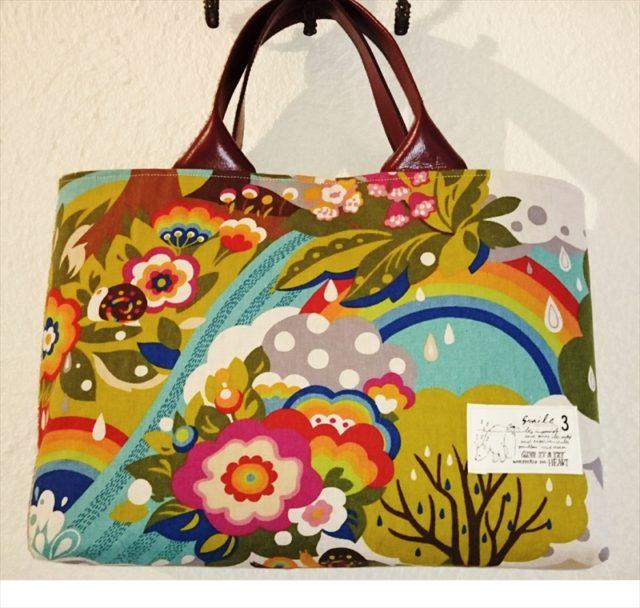 お客さまの作品7 flying colors LINENS 虹の森のバッグ